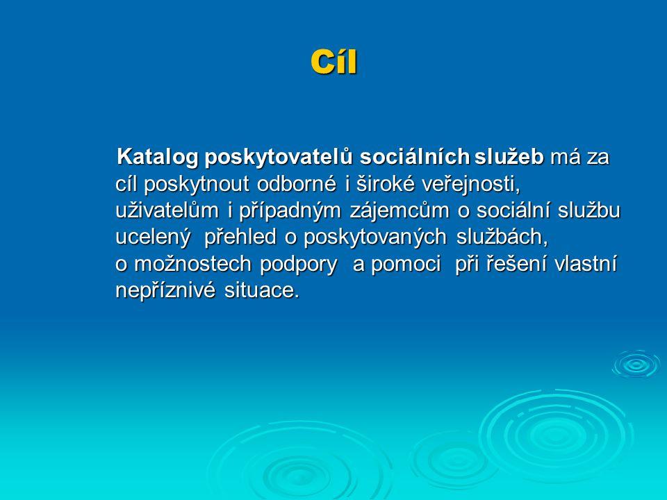 Cíl Katalog poskytovatelů sociálních služeb má za cíl poskytnout odborné i široké veřejnosti, uživatelům i případným zájemcům o sociální službu ucelený přehled o poskytovaných službách, o možnostech podpory a pomoci při řešení vlastní nepříznivé situace.