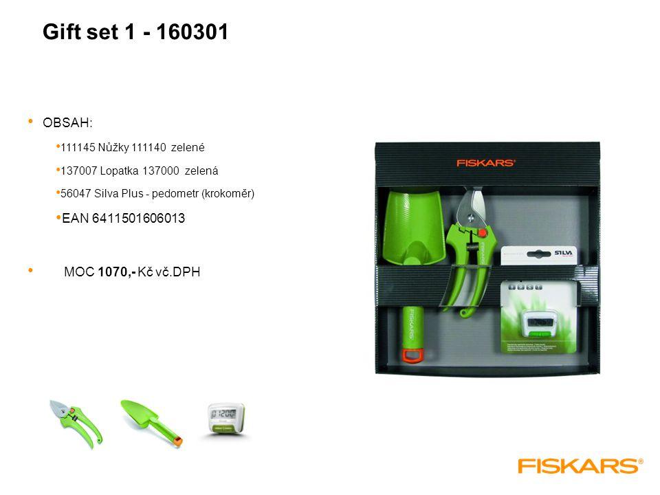 Gift set 1 - 160301 OBSAH: 111145 Nůžky 111140 zelené 137007 Lopatka 137000 zelená 56047 Silva Plus - pedometr (krokoměr) EAN 6411501606013 MOC 1070,- Kč vč.DPH
