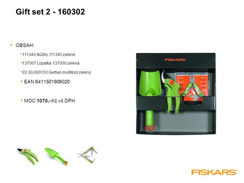 Gift set 2 - 160302 OBSAH: 111345 Nůžky 111340 zelené 137007 Lopatka 137000 zelená 22-30-000150 Gerber-multitool zelený EAN 6411501606020 MOC 1070,- Kč vč.DPH