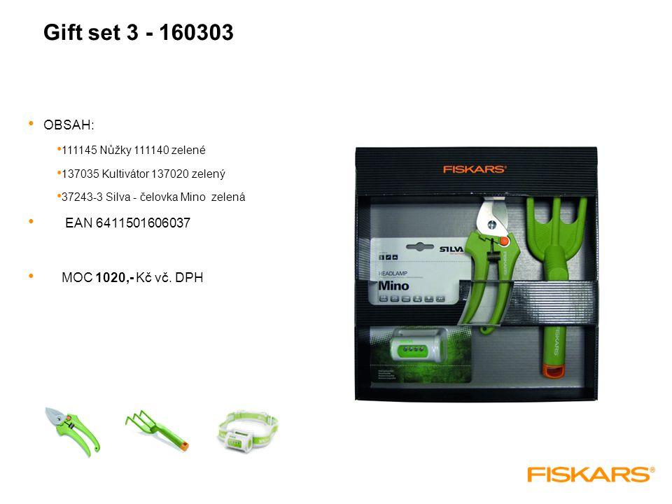 Gift set 3 - 160303 OBSAH: 111145 Nůžky 111140 zelené 137035 Kultivátor 137020 zelený 37243-3 Silva - čelovka Mino zelená EAN 6411501606037 MOC 1020,- Kč vč.
