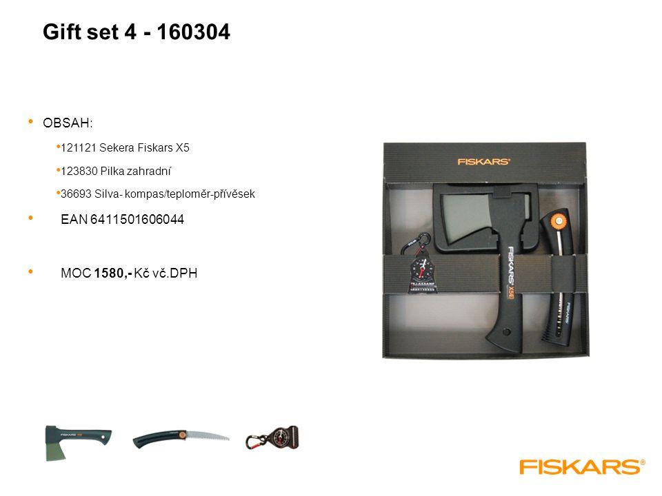 Gift set 4 - 160304 OBSAH: 121121 Sekera Fiskars X5 123830 Pilka zahradní 36693 Silva- kompas/teploměr-přívěsek EAN 6411501606044 MOC 1580,- Kč vč.DPH