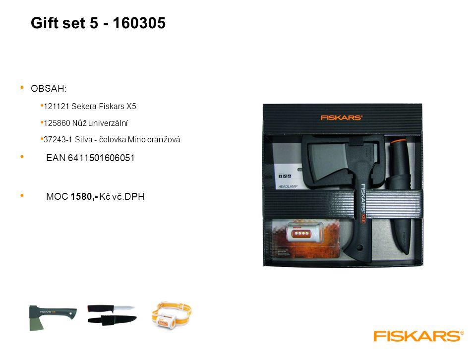 Gift set 5 - 160305 OBSAH: 121121 Sekera Fiskars X5 125860 Nůž univerzální 37243-1 Silva - čelovka Mino oranžová EAN 6411501606051 MOC 1580,- Kč vč.DPH
