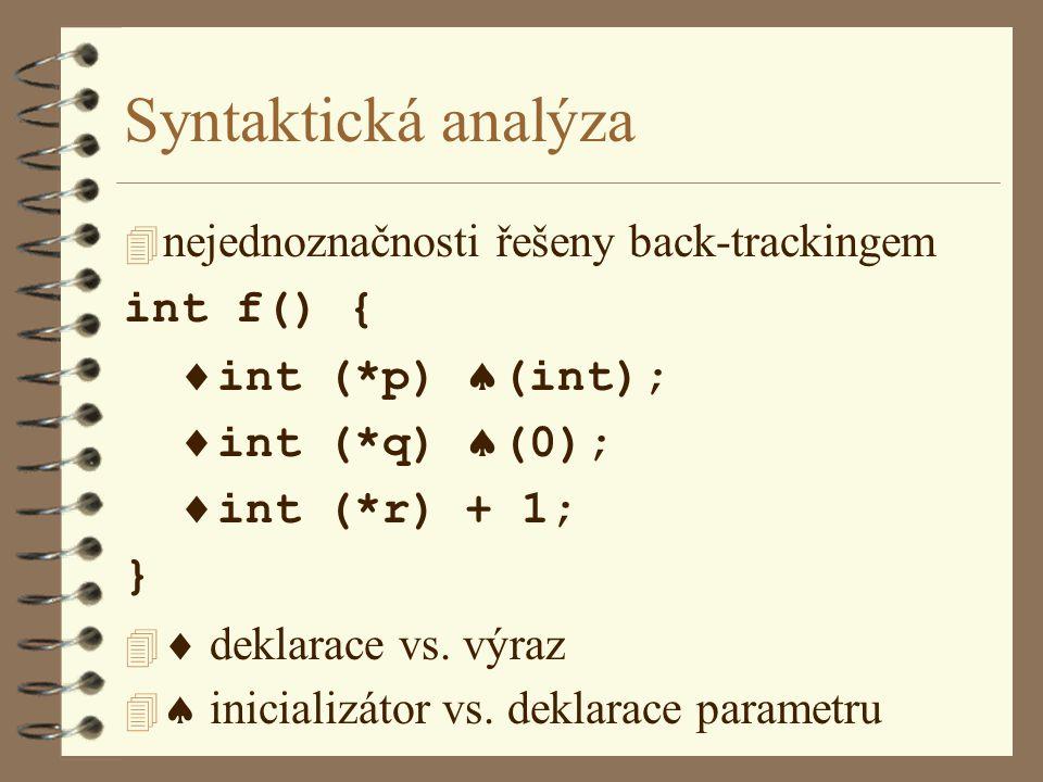 Syntaktická analýza  nejednoznačnosti řešeny back-trackingem int f() {  int (*p)  (int);  int (*q)  (0);  int (*r) + 1; } 4  deklarace vs.