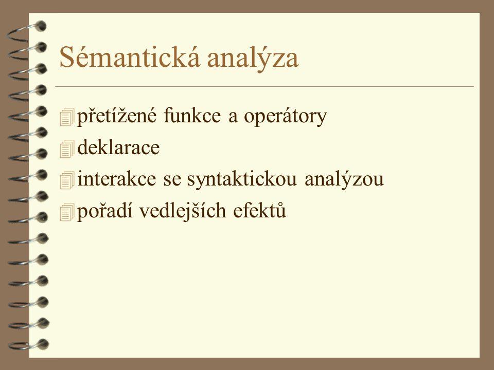 Sémantická analýza 4 přetížené funkce a operátory 4 deklarace 4 interakce se syntaktickou analýzou 4 pořadí vedlejších efektů