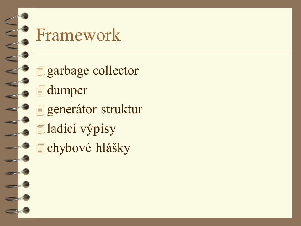 Framework 4 garbage collector 4 dumper 4 generátor struktur 4 ladicí výpisy 4 chybové hlášky