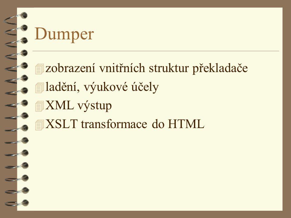 Dumper 4 zobrazení vnitřních struktur překladače 4 ladění, výukové účely 4 XML výstup 4 XSLT transformace do HTML