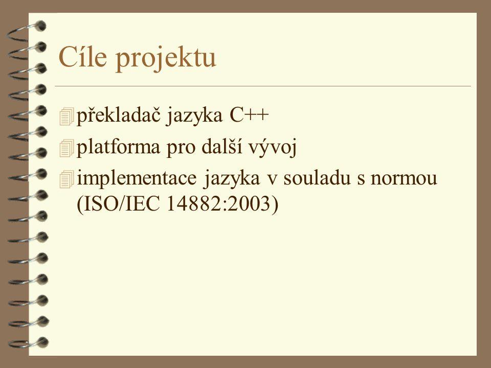 Cíle projektu 4 překladač jazyka C++ 4 platforma pro další vývoj 4 implementace jazyka v souladu s normou (ISO/IEC 14882:2003)
