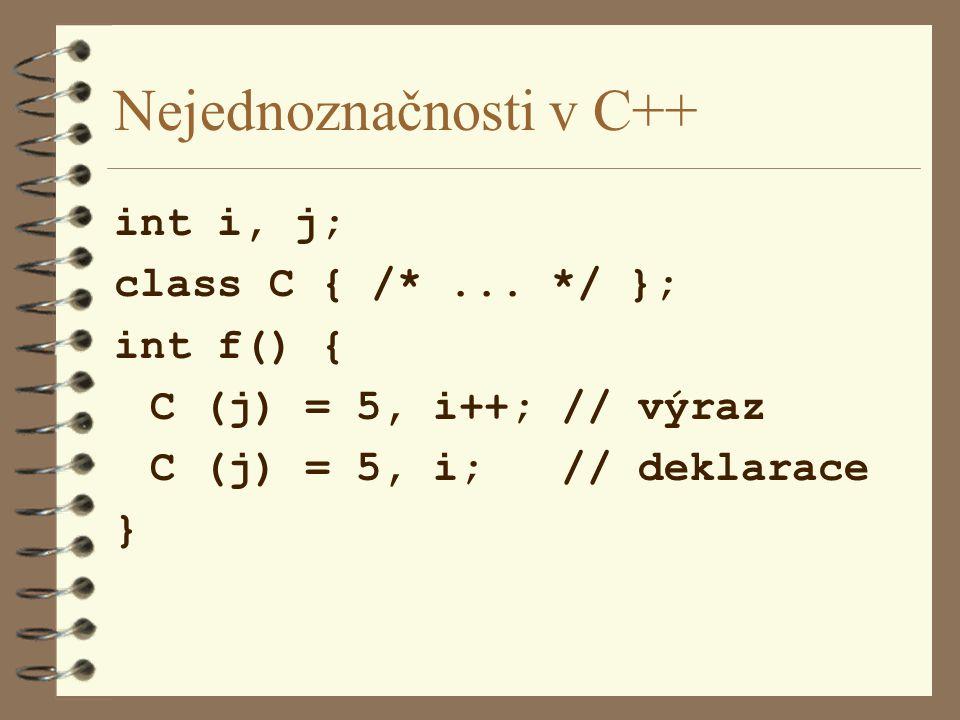 Nejednoznačnosti v C++ int i, j; class C { /*...