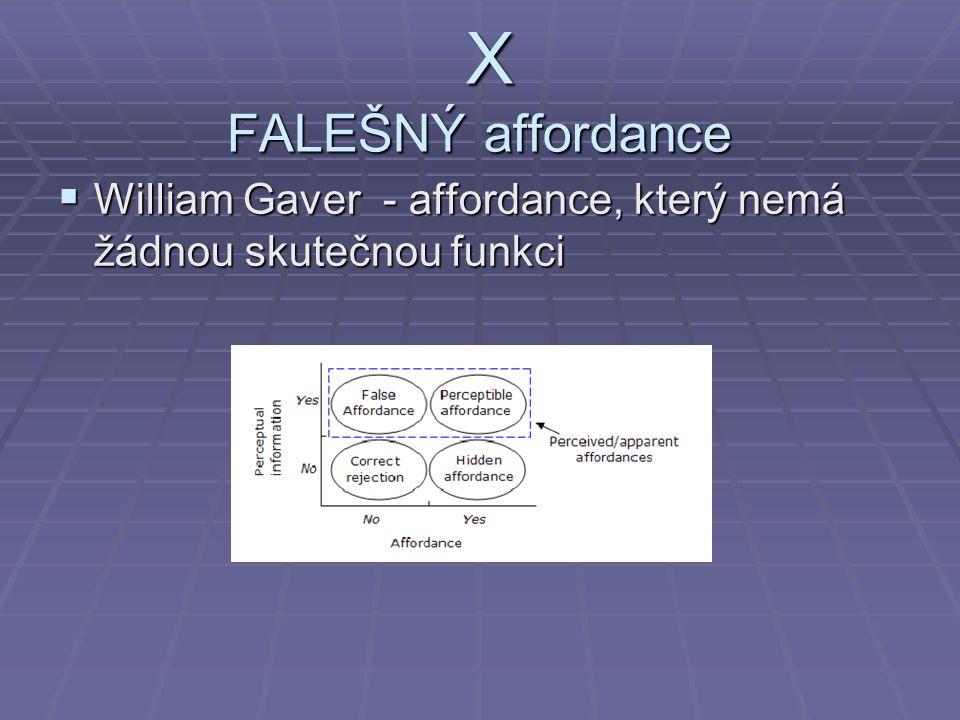 X FALEŠNÝ affordance X FALEŠNÝ affordance  William Gaver - affordance, který nemá žádnou skutečnou funkci