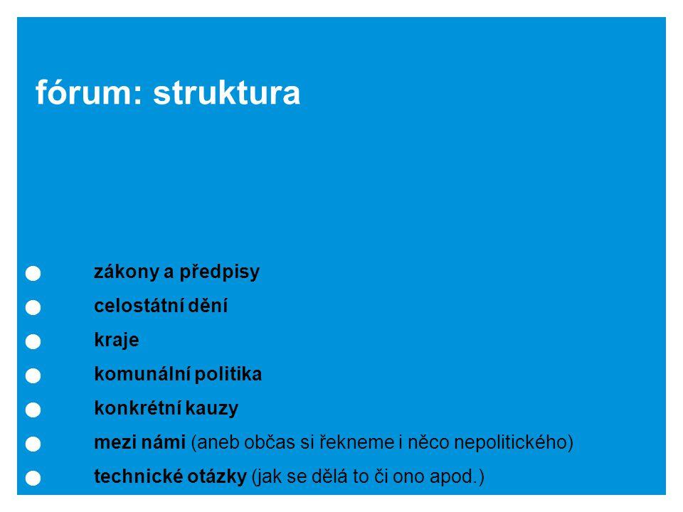 zákony a předpisy celostátní dění kraje komunální politika konkrétní kauzy mezi námi (aneb občas si řekneme i něco nepolitického) technické otázky (jak se dělá to či ono apod.) fórum: struktura