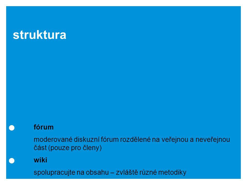 fórum moderované diskuzní fórum rozdělené na veřejnou a neveřejnou část (pouze pro členy) wiki spolupracujte na obsahu – zvláště různé metodiky struktura