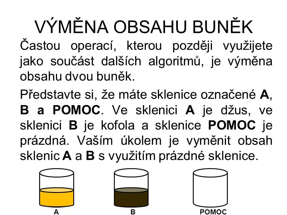 VÝMĚNA OBSAHU BUNĚK Postup výměny: 1.krok Vezmeme sklenici A s džusem a její obsah nalijeme do prázdné sklenice POMOC.
