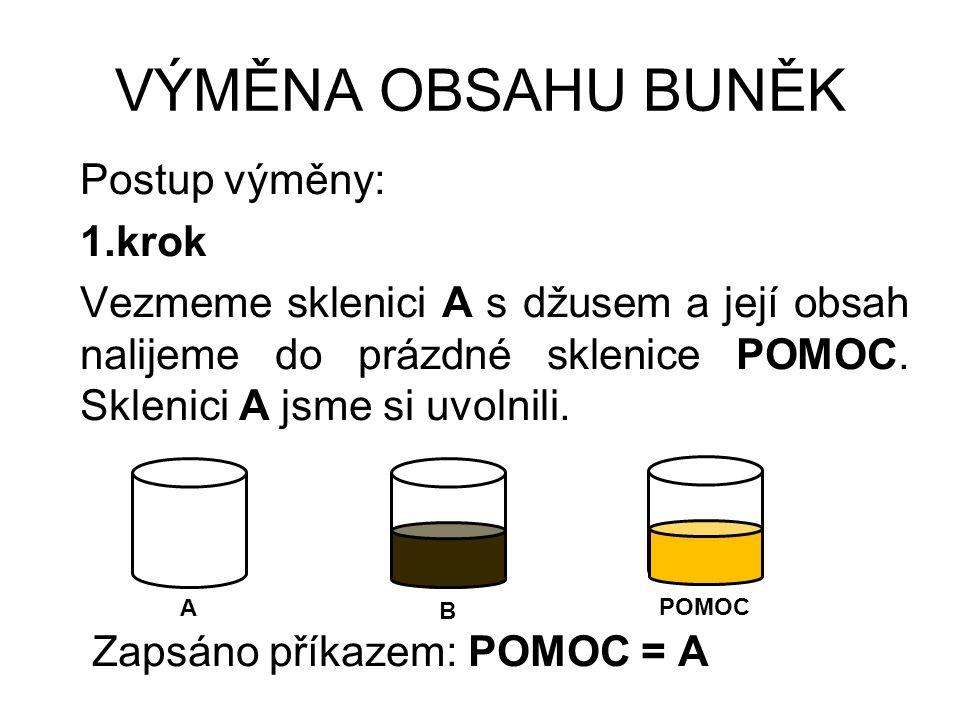 VÝMĚNA OBSAHU BUNĚK 2.krok Vezmeme sklenici B s kofolou a její obsah nalijeme do prázdné sklenice A.