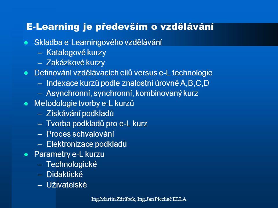 Ing.Martin Zdrůbek, Ing.Jan Plecháč ELLA E-Learning je především o vzdělávání Skladba e-Learningového vzdělávání –Katalogové kurzy –Zakázkové kurzy De