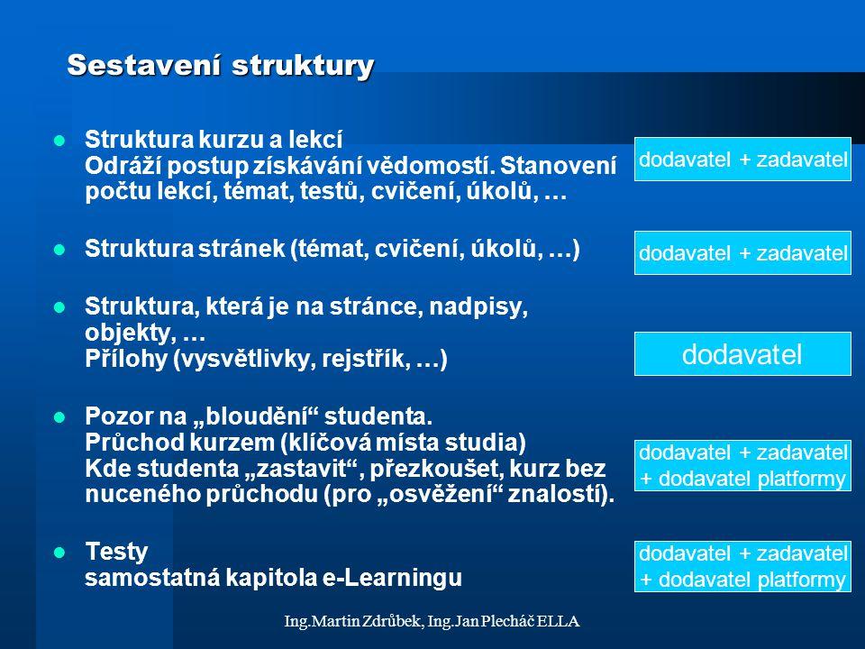 Ing.Martin Zdrůbek, Ing.Jan Plecháč ELLA Sestavení struktury Struktura kurzu a lekcí Odráží postup získávání vědomostí. Stanovení počtu lekcí, témat,
