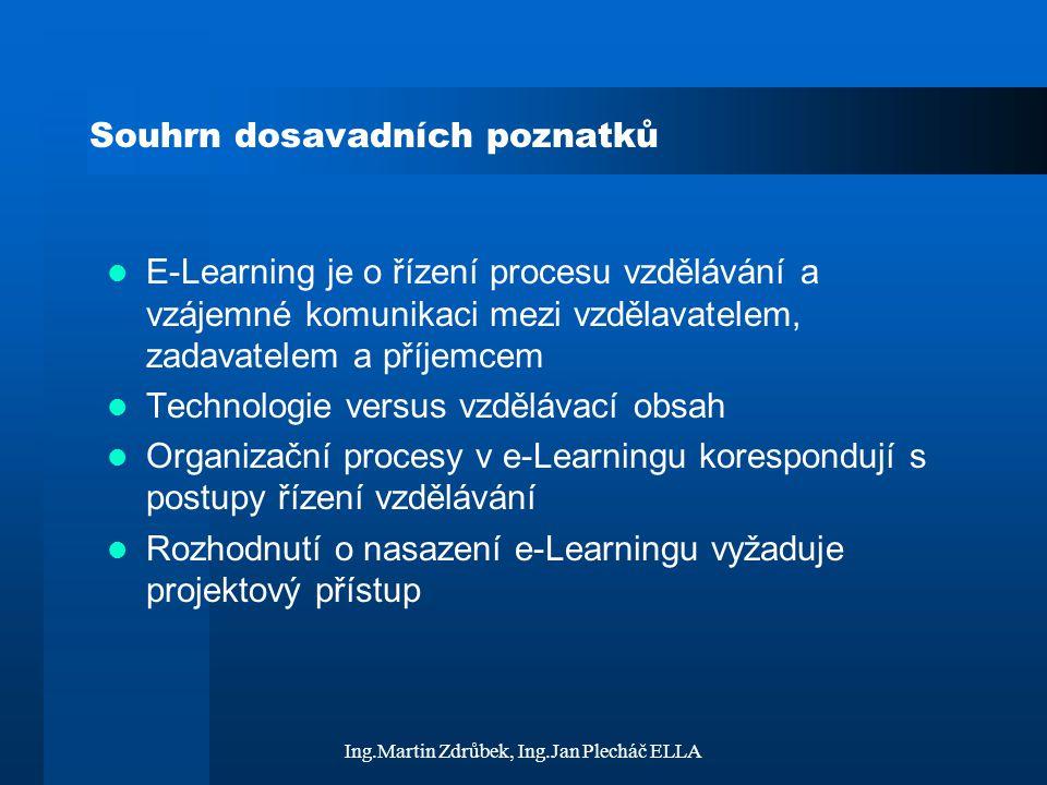 Ing.Martin Zdrůbek, Ing.Jan Plecháč ELLA Souhrn dosavadních poznatků E-Learning je o řízení procesu vzdělávání a vzájemné komunikaci mezi vzdělavatele