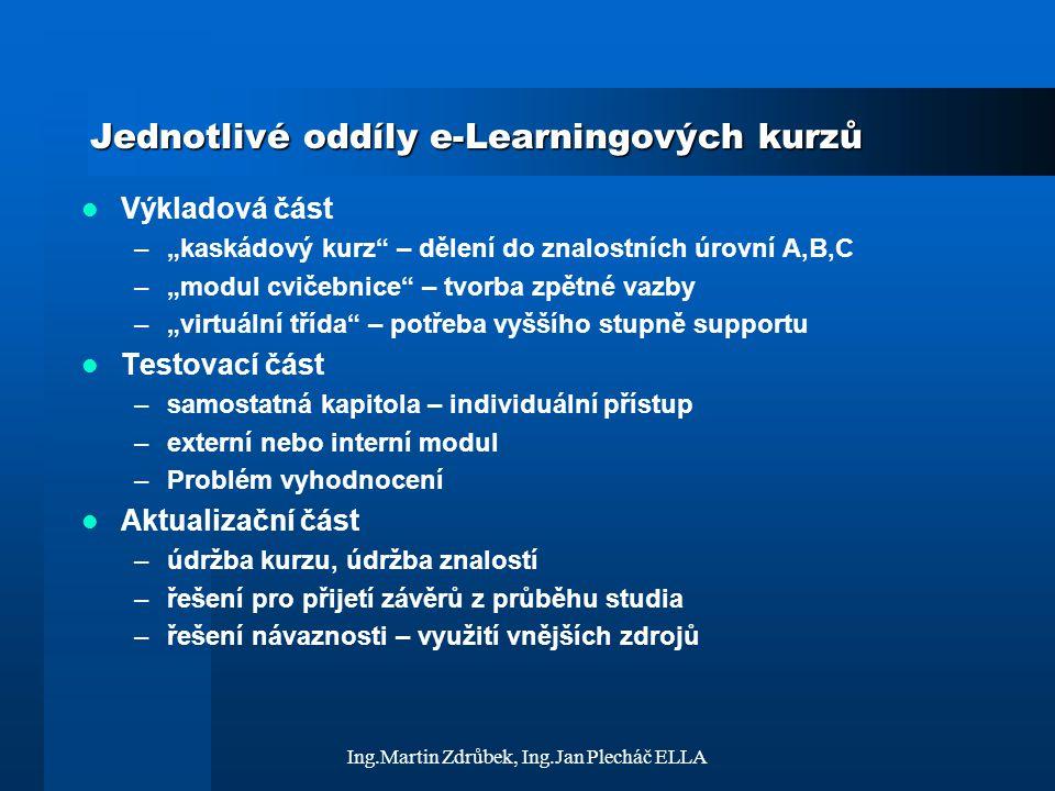 """Ing.Martin Zdrůbek, Ing.Jan Plecháč ELLA Jednotlivé oddíly e-Learningových kurzů Výkladová část –""""kaskádový kurz"""" – dělení do znalostních úrovní A,B,C"""