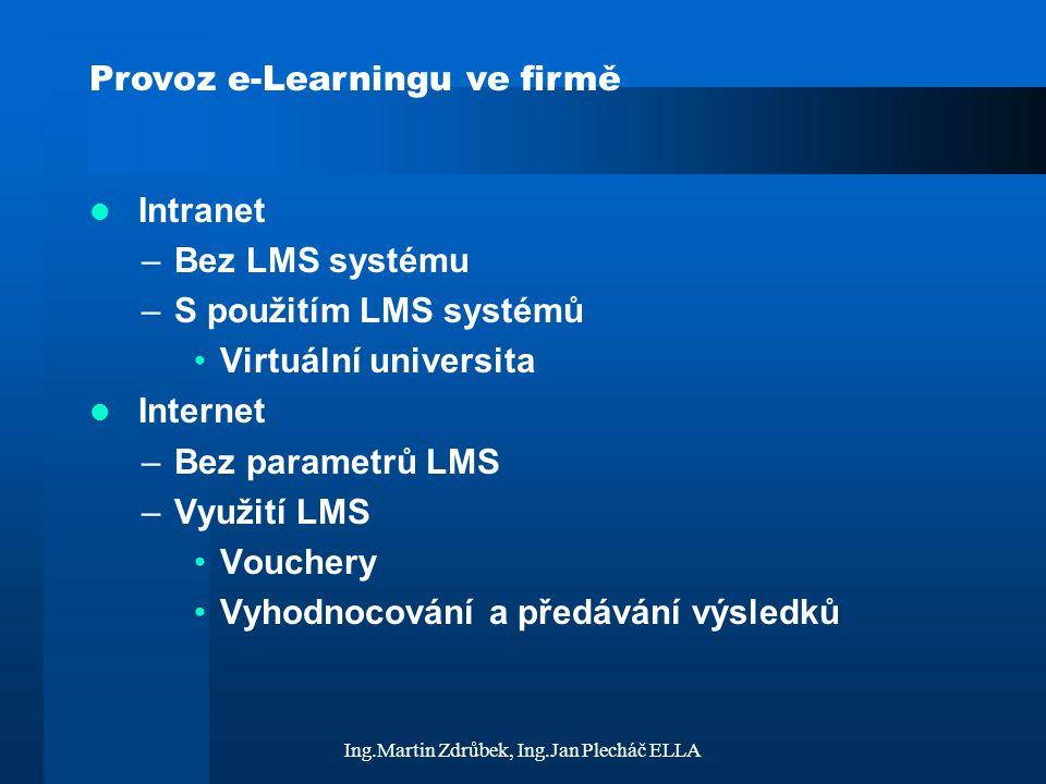 Ing.Martin Zdrůbek, Ing.Jan Plecháč ELLA Provoz e-Learningu ve firmě Intranet –Bez LMS systému –S použitím LMS systémů Virtuální universita Internet –