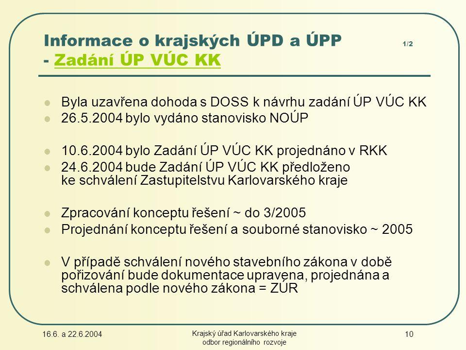16.6. a 22.6.2004 Krajský úřad Karlovarského kraje odbor regionálního rozvoje 10 Byla uzavřena dohoda s DOSS k návrhu zadání ÚP VÚC KK 26.5.2004 bylo