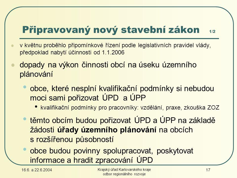 16.6. a 22.6.2004 Krajský úřad Karlovarského kraje odbor regionálního rozvoje 17 v květnu proběhlo připomínkové řízení podle legislativních pravidel v