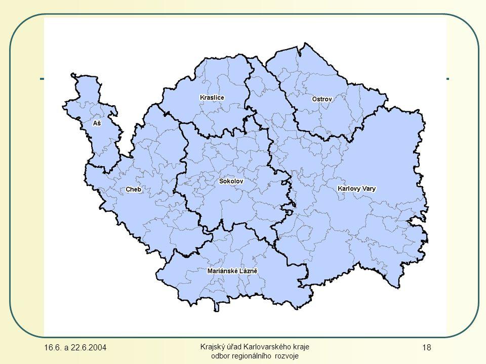 16.6. a 22.6.2004 Krajský úřad Karlovarského kraje odbor regionálního rozvoje 18