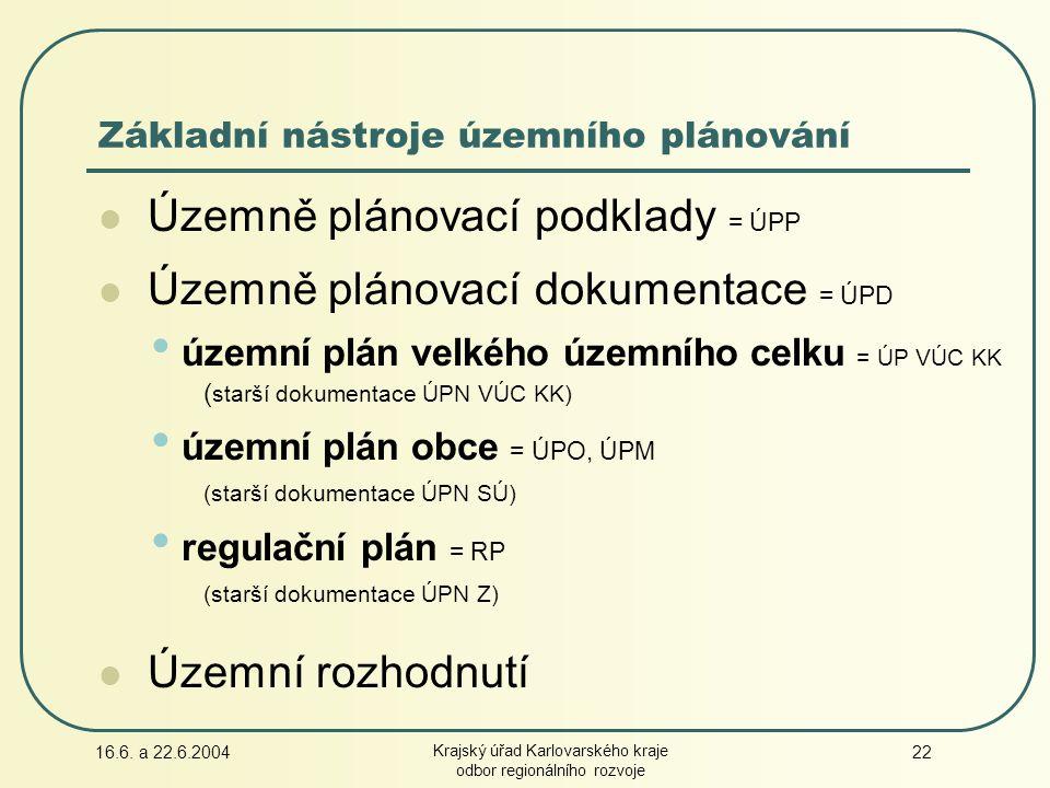 16.6. a 22.6.2004 Krajský úřad Karlovarského kraje odbor regionálního rozvoje 22 Územně plánovací podklady = ÚPP Územně plánovací dokumentace = ÚPD úz