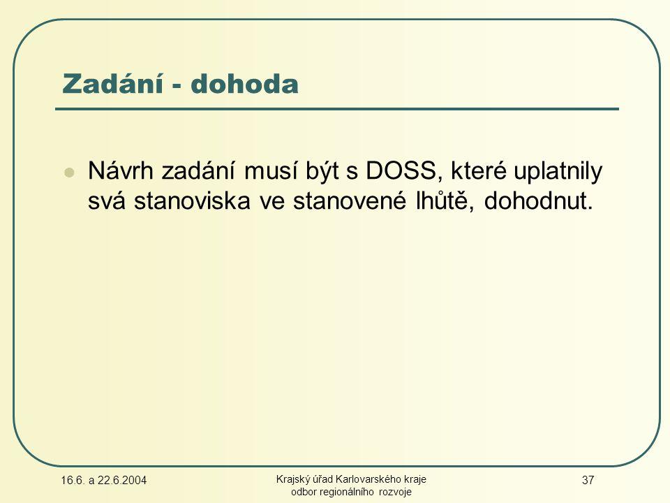16.6. a 22.6.2004 Krajský úřad Karlovarského kraje odbor regionálního rozvoje 37 Návrh zadání musí být s DOSS, které uplatnily svá stanoviska ve stano
