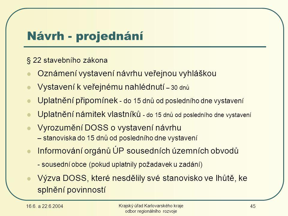 16.6. a 22.6.2004 Krajský úřad Karlovarského kraje odbor regionálního rozvoje 45 Návrh - projednání § 22 stavebního zákona Oznámení vystavení návrhu v