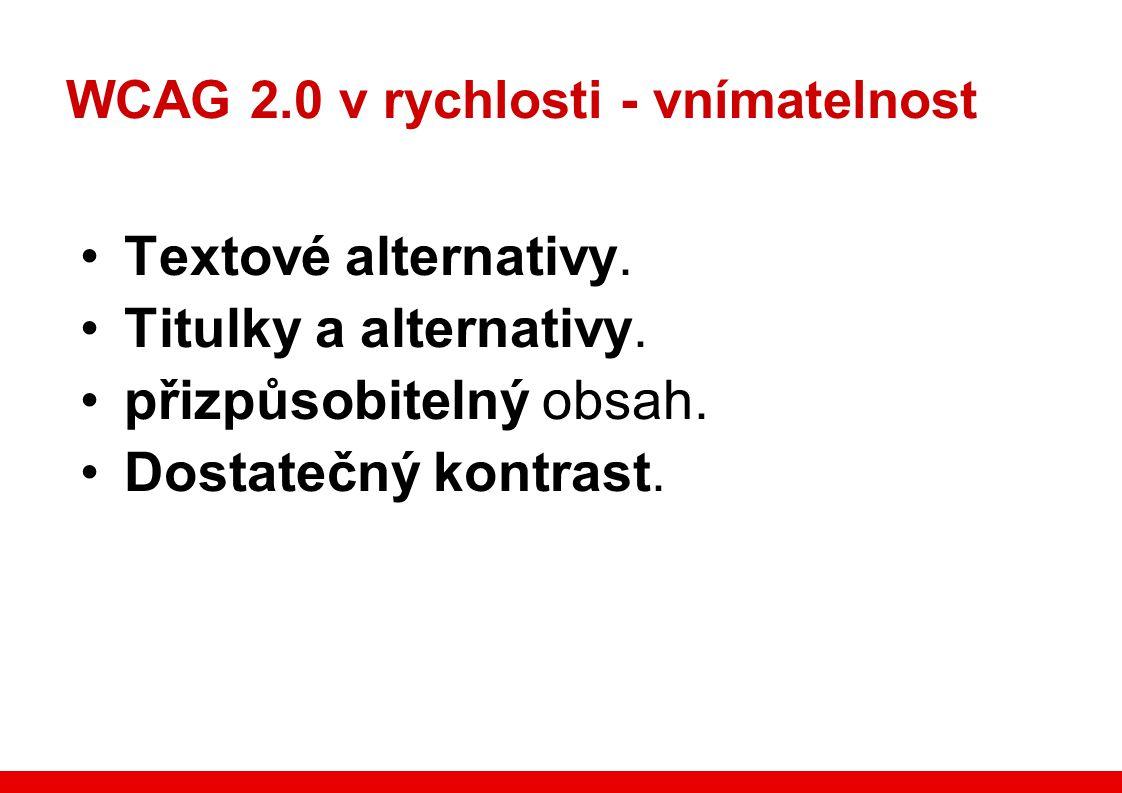 WCAG 2.0 v rychlosti - vnímatelnost Textové alternativy.
