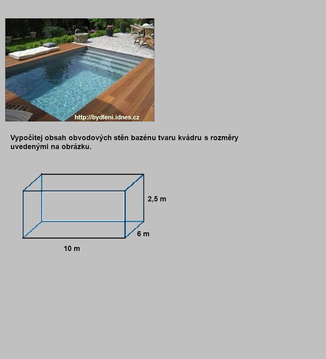 http://bydleni.idnes.cz Vypočítej obsah obvodových stěn bazénu tvaru kvádru s rozměry uvedenými na obrázku. 10 m 2,5 m 6 m