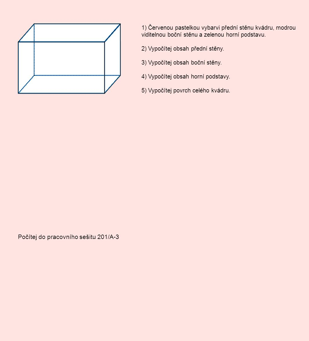 1) Červenou pastelkou vybarvi přední stěnu kvádru, modrou viditelnou boční stěnu a zelenou horní podstavu. 2) Vypočítej obsah přední stěny. 3) Vypočít