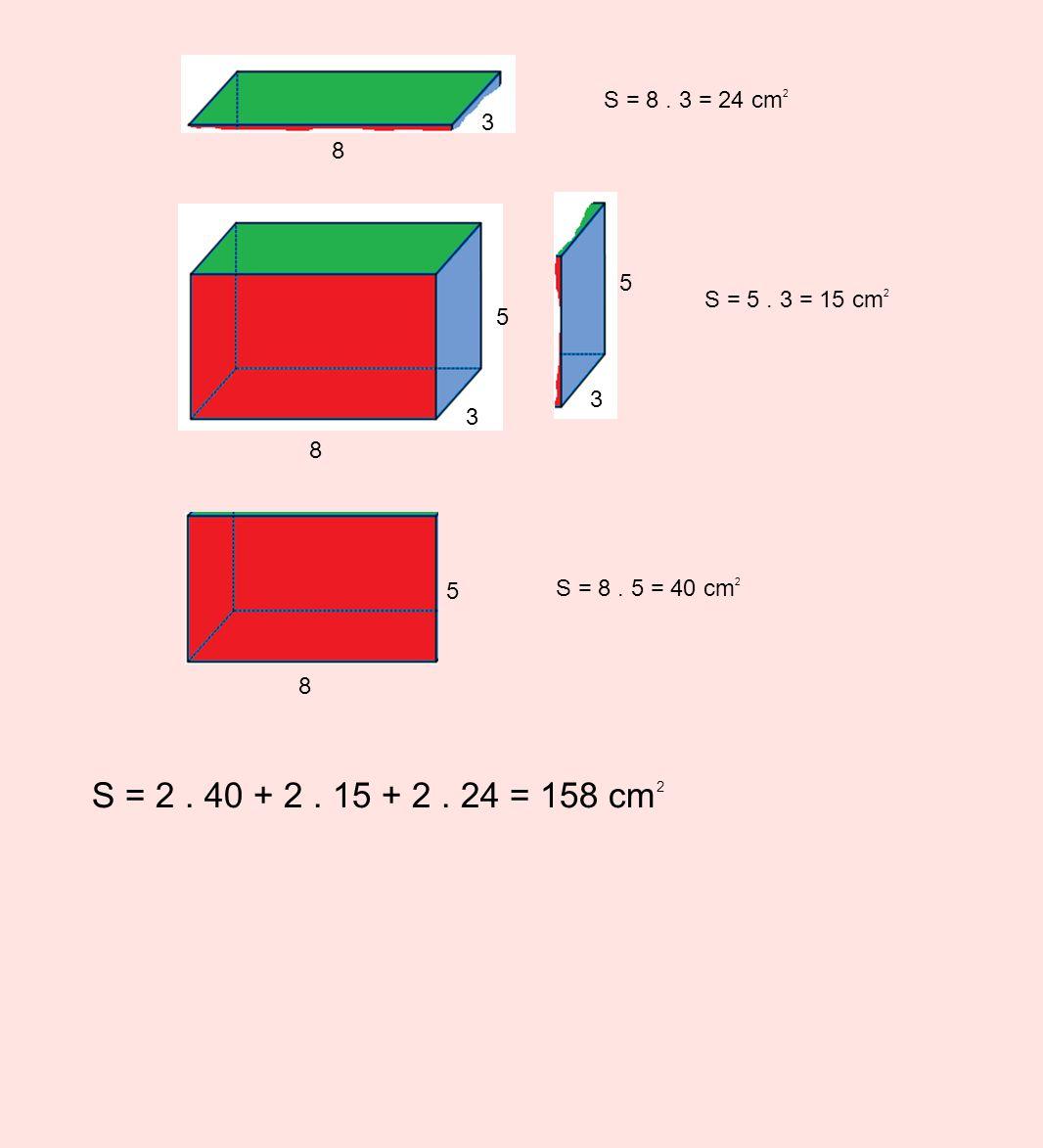 5 3 8 S = 8. 5 = 40 cm 2 5 8 S = 5. 3 = 15 cm 2 5 3 S = 8. 3 = 24 cm 2 8 3 S = 2. 40 + 2. 15 + 2. 24 = 158 cm 2