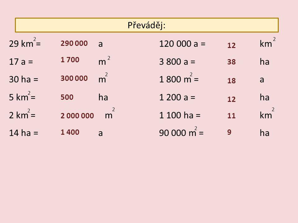 Převáděj: 29 km =a 17 a =m 30 ha =m 5 km =ha 2 km = m 14 ha =a 120 000 a = km 3 800 a = ha 1 800 m = a 1 200 a = ha 1 100 ha = km 90 000 m = ha 2 2 2