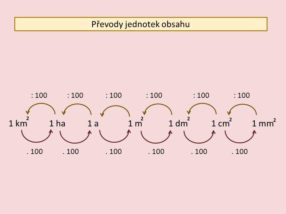 Převody jednotek obsahu 1 km1 ha1 a1 dm1 m1 cm1 mm 2 2 2 2 2 : 100. 100