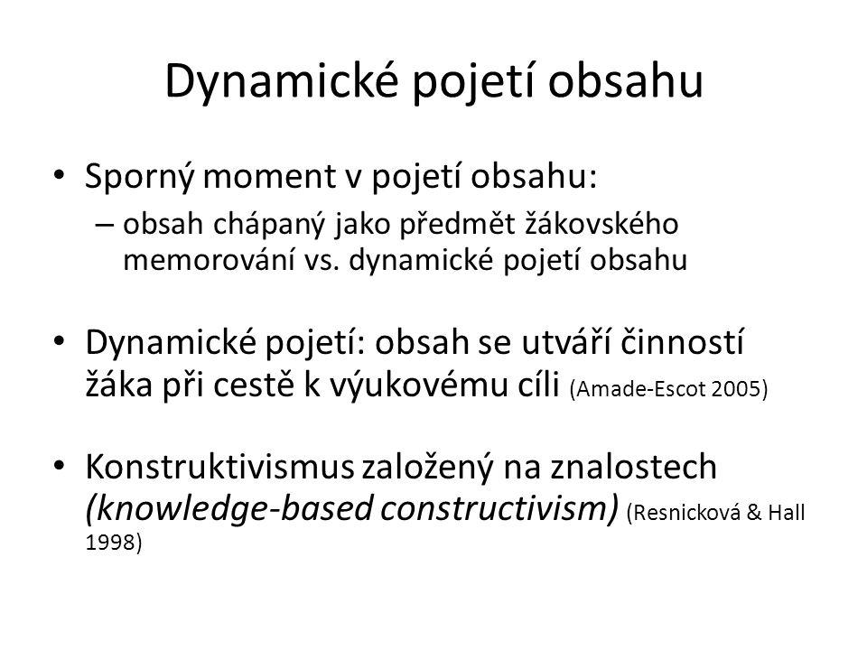 Dynamické pojetí obsahu Sporný moment v pojetí obsahu: – obsah chápaný jako předmět žákovského memorování vs. dynamické pojetí obsahu Dynamické pojetí