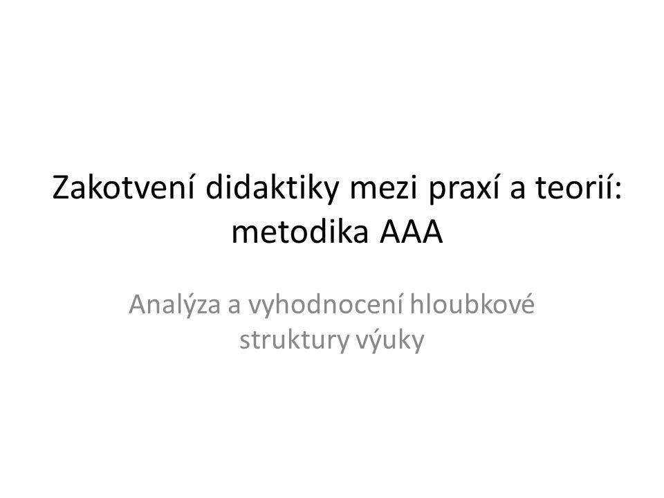 Zakotvení didaktiky mezi praxí a teorií: metodika AAA Analýza a vyhodnocení hloubkové struktury výuky