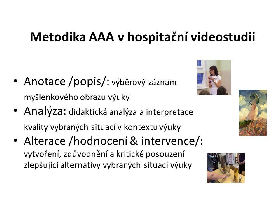 Metodika AAA v hospitační videostudii Anotace /popis/: výběrový záznam myšlenkového obrazu výuky Analýza: didaktická analýza a interpretace kvality vy