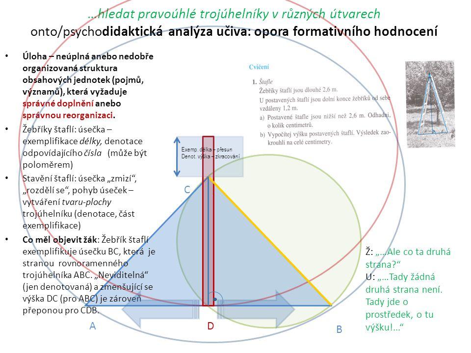 …hledat pravoúhlé trojúhelníky v různých útvarech onto/psychodidaktická analýza učiva: opora formativního hodnocení Úloha – neúplná anebo nedobře orga