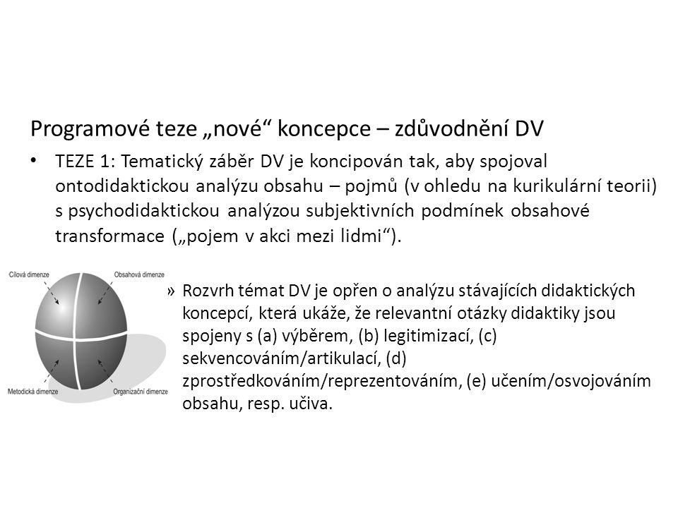 """Programové teze """"nové"""" koncepce – zdůvodnění DV TEZE 1: Tematický záběr DV je koncipován tak, aby spojoval ontodidaktickou analýzu obsahu – pojmů (v o"""
