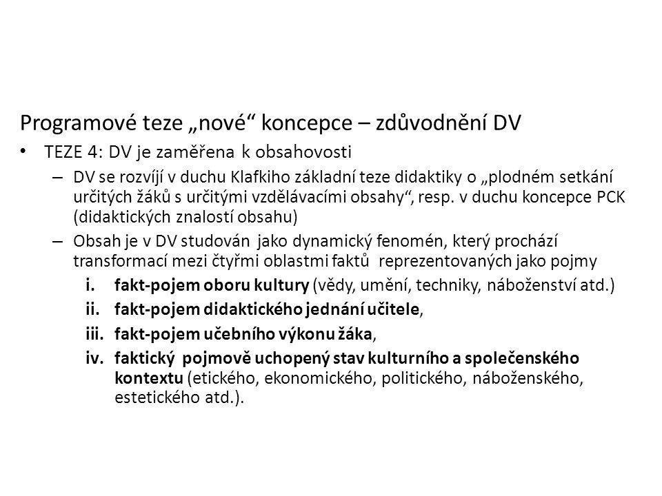 """Programové teze """"nové"""" koncepce – zdůvodnění DV TEZE 4: DV je zaměřena k obsahovosti – DV se rozvíjí v duchu Klafkiho základní teze didaktiky o """"plodn"""