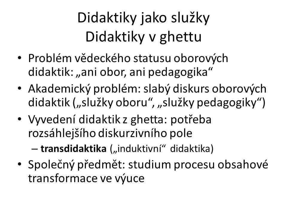 "Didaktiky jako služky Didaktiky v ghettu Problém vědeckého statusu oborových didaktik: ""ani obor, ani pedagogika"" Akademický problém: slabý diskurs ob"
