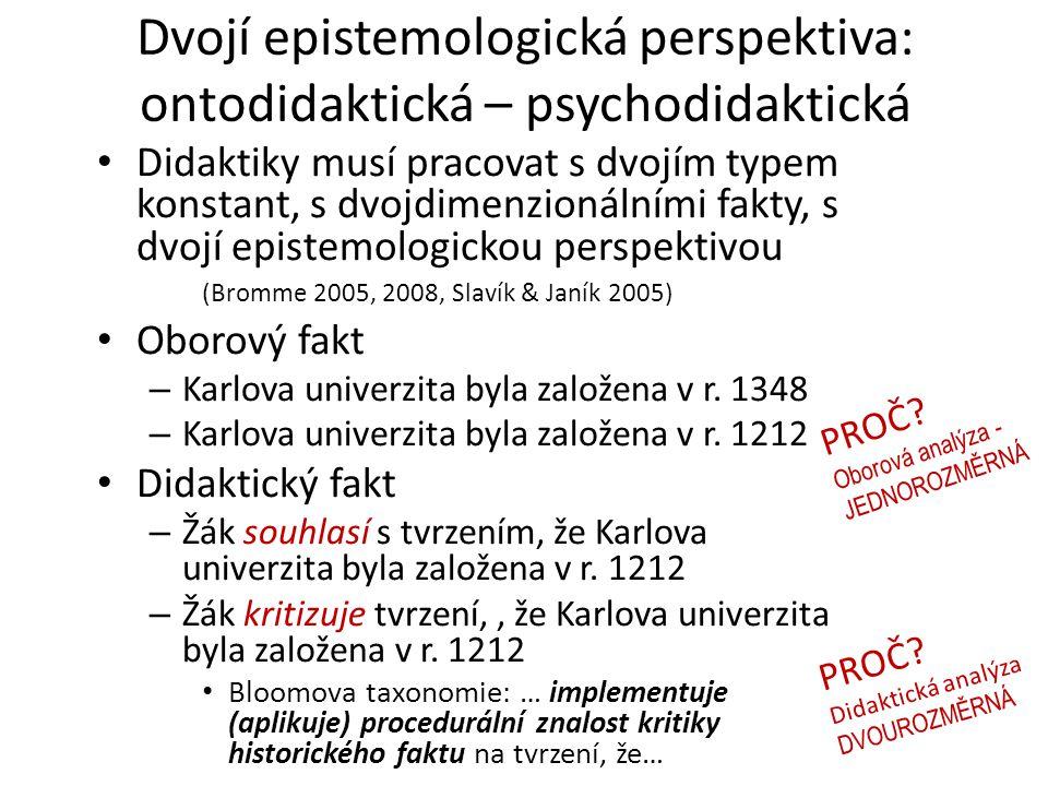 Dvojí epistemologická perspektiva: ontodidaktická – psychodidaktická Didaktiky musí pracovat s dvojím typem konstant, s dvojdimenzionálními fakty, s d
