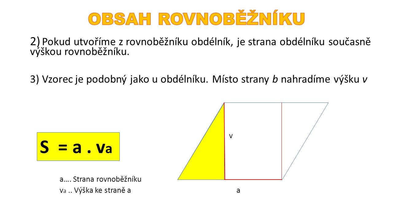 2) Pokud utvoříme z rovnoběžníku obdélník, je strana obdélníku současně výškou rovnoběžníku. 3) Vzorec je podobný jako u obdélníku. Místo strany b nah