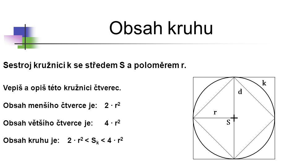 Obsah kruhu Sestroj kružnici k se středem S a poloměrem r. r d S Vepiš a opiš této kružnici čtverec. k Obsah menšího čtverce je:2 ∙ r 2 Obsah většího