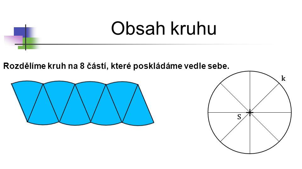 Obsah kruhu Rozdělíme kruh na 8 částí, které poskládáme vedle sebe. S k