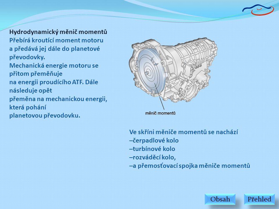 Hydrodynamický měnič momentů Přebírá kroutící moment motoru a předává jej dále do planetové převodovky. Mechanická energie motoru se přitom přeměňuje