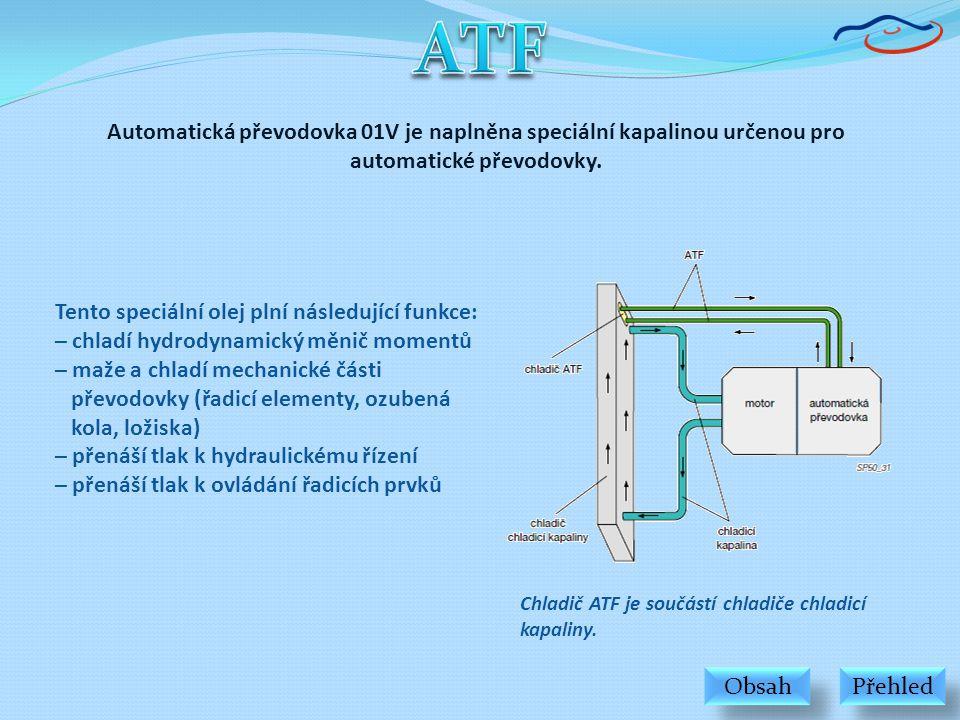 Automatická převodovka 01V je naplněna speciální kapalinou určenou pro automatické převodovky. Tento speciální olej plní následující funkce: – chladí