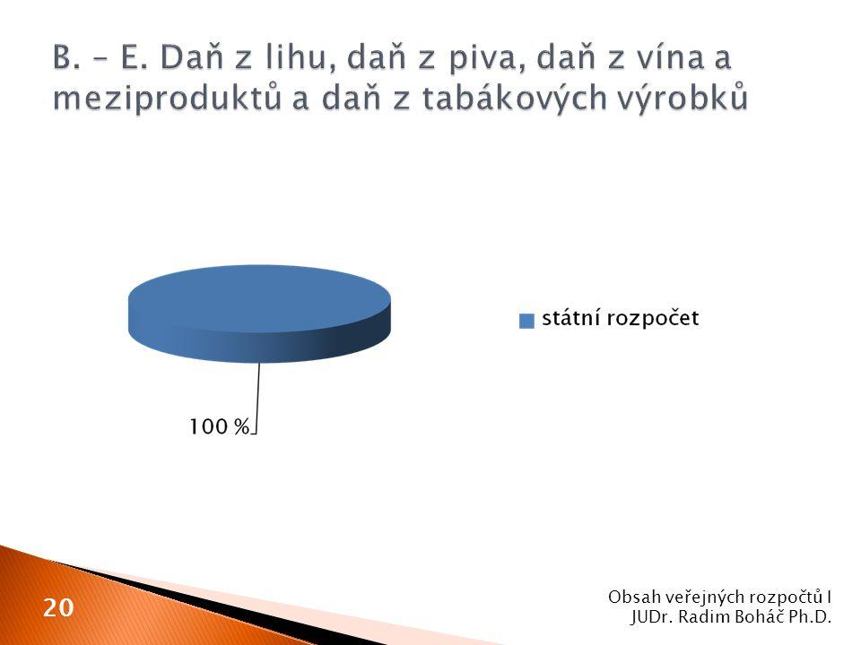 Obsah veřejných rozpočtů I JUDr. Radim Boháč Ph.D. 20