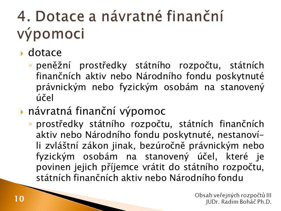  dotace ◦ peněžní prostředky státního rozpočtu, státních finančních aktiv nebo Národního fondu poskytnuté právnickým nebo fyzickým osobám na stanovený účel  návratná finanční výpomoc ◦ prostředky státního rozpočtu, státních finančních aktiv nebo Národního fondu poskytnuté, nestanoví- li zvláštní zákon jinak, bezúročně právnickým nebo fyzickým osobám na stanovený účel, které je povinen jejich příjemce vrátit do státního rozpočtu, státních finančních aktiv nebo Národního fondu Obsah veřejných rozpočtů III JUDr.