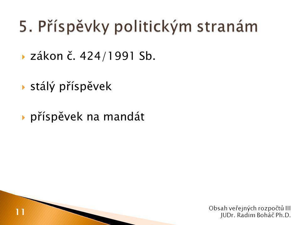  zákon č. 424/1991 Sb.  stálý příspěvek  příspěvek na mandát Obsah veřejných rozpočtů III JUDr. Radim Boháč Ph.D. 11